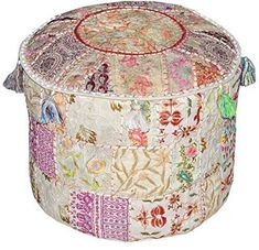 This is a Vintage Cotton Fabric Patchwork Ottoman Cover In Round Shape…….. , *Pouf Cover has Green with Multi Color Patchwork Pattern……. ,. ,* insert is not included. .. * Pouf Cover has a Zipper Closure on Bottom side .. *Vibrant and colorful handmade ottoman pouf cover... see more details at https://bestselleroutlets.com/home-kitchen/furniture/nursery-furniture/product-review-for-indian-embroidered-patchwork-ottoman-coverindian-decorative-pouf-ottoma