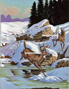 "GORGEOUS WALL ART ""Deer In the Wild/Snow"" restored antique Art Print just $12"