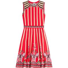 M Missoni Cotton-Blend Circus Print Dress (5.845 ARS) ❤ liked on Polyvore featuring dresses, missoni, green, red pattern dress, green dress, red print dress, green sleeveless dress and round neck sleeveless dress