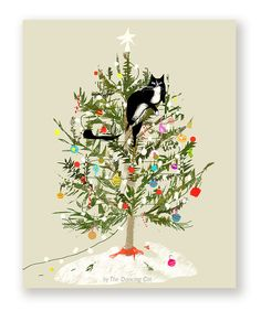 Celebrate the season with this classic scenario... ;D Purrfect holiday card for your favorite cat lover! (Save when you purchase as a Set of 4 or more!) Size: A2 4.25 x 5.5 in. Quantity: 1 Card, Set of 4, Set of 10 and up... Paper: Smooth card stock. (Blank inside) Red envelopes included. Funny Christmas Tree, Christmas Tree Drawing, Funny Holiday Cards, Christmas Tree Cards, Noel Christmas, Christmas Paintings, Christmas Cats, Christmas Humor, Handmade Christmas