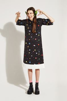 Pleat Kimono Dress Space Print - THE WHITEPEPPER http://www.thewhitepepper.com/collections/winter-drop-1/products/pleat-kimono-dress-space-print