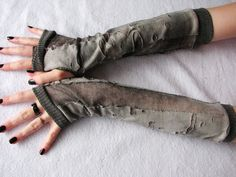 Walking Dead Arm Warmers: Charcoal ,Gray, Cement, Halloween, Fingerless Gloves, Zombie apocalypse, corpse bride,Ripped, Goth. $17.00, via Etsy.