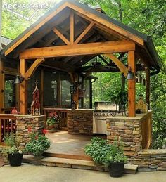Outdoor Kitchen Design Ideas and Decorating Pictures for Your Inspirations - Incredible collection of outdoor kitchen layouts to get you motivated. Use our design ideas in order to help create the best room for your outdoor kitchen appliances. Outdoor Rooms, Outdoor Gardens, Outdoor Living, Outdoor Decor, Rustic Outdoor, Rustic Patio, Outdoor Ideas, Gazebos, Outside Living