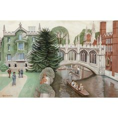 "ALFRED DANIELS (British,  1924 - 2015) - ""The Bridge of Sighs, Cambridge"" Original Signed/Dated Oil On Canvas, from Barkus Farm Antiques, Collectibles and Fine Art on Ruby Lane"