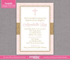 Blush Pink Gold Baby Girl Baptism Invitation by ZoeyBlueDesigns