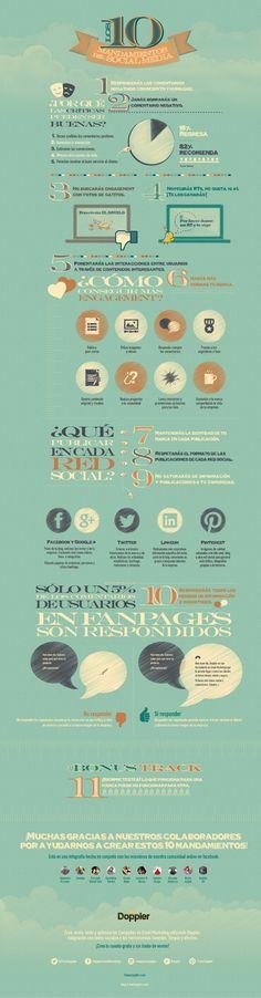 Hola: Una infografía con los 10 mandamientos de las Redes Sociales. Vía Un saludo