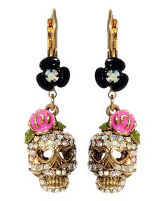 Betsey Johnson Crystal Skull and Flower Drop Earrings - Fashion Earrings - Jewelry & Watches - Macy's