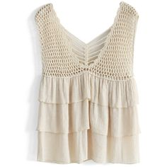 Chicwish Tiered Crochet Tank Top ($27) ❤ liked on Polyvore featuring tops, tank tops, shirts, beige, white crochet tank top, loose tank top, white singlet, crochet tank top and cut loose shirt