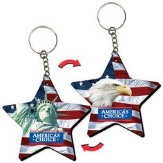 Lenticular foam key chain with star shaped, Statue of Liberty, bald eagle, and American flag, flip from Lantor, Ltd.: This key chain / key tag, with its exciting Lenticular flip effect, makes a great USA patriotic-themed promotional product. The key chain's star-shaped face features a flip effect between images of a bald eagle and Status of Liberty, both in front of a USA flag. See more at: http://www.lenticularpromo.com/Keychain-p/kceva-sta-273.htm#sthash.SMMQh2AM.dpuf