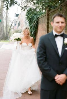 Blur bridesmaids and groomsmen like this for first look. Out of focus, but facial desires visible.