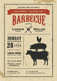 BBQ Invitation Logo Design Vintage Cook out by GoGreenGraphics
