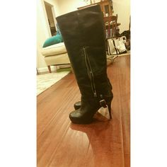 "#NineWest #knee-high boots Barely worn black leather boots. Size 9. Approximately 4.5"" heel with 1"" platform. Cute buckle detail near heel. Side zipper. They were under my bed and I forgot about them! Please give them a new home! Nine West Shoes Over the Knee Boots"