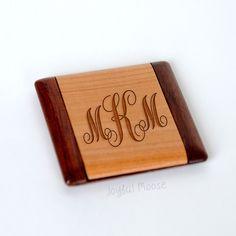 Wood Monogram Pocket Mirror - Bridesmaid Gift - Personalized Wood Compact Mirror - Custom Mirror
