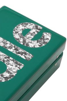 Edie Parker - Jean Kale Glittered Acrylic Box Clutch - Emerald - one size