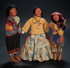 """Three """"Skookum"""" Dolls of Native Americans by Mary McAboy $200+ Auctions Online 