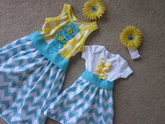 Custom made big sister and little sister dresses and  two matching  hair bows