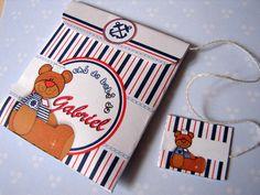 Convite saquinho de chá para chá de bebê com tema Urso Marinheiro. R$2,30