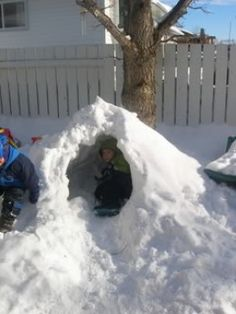 making snow forts