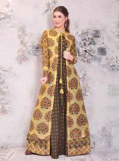 joshindia Light Coffee With Yellow Color designer Chanderi Printed Party Wear Long Kurti at joshindia Indian Designer Outfits, Designer Gowns, Indian Outfits, Designer Kurtis, Jacket Style Kurti, Long Shrug, Shrug For Dresses, Linen Dresses, Formal Dresses