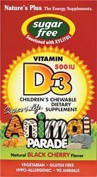 Source of Life Animal Parade Sugar-Free Vitamin D3 Black Cherry - 90 - Chewable by Natures Plus. $9.16. Source of Life Animal Parade Sugar Free Vitamin D3 500 IU - Black Cherry Flavor - Childrens ChewableStarting your childs lifetime of strong, healthy bonesSUGAR FREE Animal Parade Builds Healthy Bodies and Healthy Smiles The delicious natural flavors kids LOVE  now available with the natural sweetness of Xylitol! For more than 20 years, ...