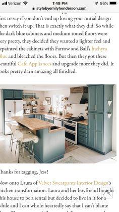Blue Cabinets, Kitchen Inspiration, Flooring, Ideas, Design, Home Decor, Decoration Home, Room Decor, Hardwood Floor