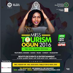 #MTOGUN2016: Miss Tourism Ogun Beauty Pageant Organisers release list of feature artistes host    Miss Tourism Ogun auditions have come and gone with Abeokuta Sango-Otta and Ikeja Lagos State playing host to the screening exercises. Several contestants came and saw but after series of rigorous and unbiased screening by the judges only 25 contestants conquered. The screening process was further made open to the general public to vote their favourite contestants via Instagram and Facebook and…