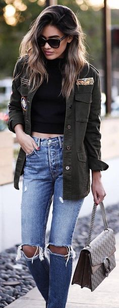 #winter #fashion /  Army Jacket + Black Cropped Top