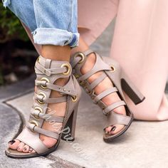 Shoespie Gray Chunky Heel Sandals