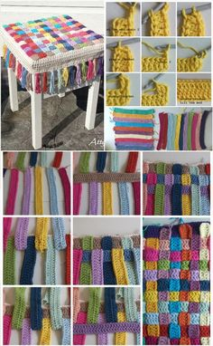 Easy Crochet Rainbow Stool Cover - 31 Free Crochet Patterns That You will in Love with | 101 Crochet