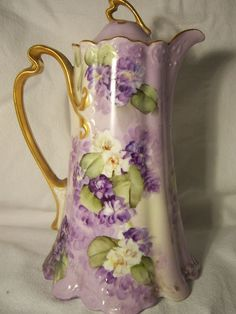 Gorgeous Antique Hand Painted Limoges Chocolate Pot Signed E Miler