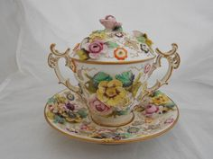 19TH CENTURY PORCELAIN CHOCOLATE CUP SAUCER POSSIBLY COALPORT FLOWER ENCRUSTED   #CupsSaucers