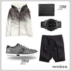 Bluza z efektem ombre to modny element męskiej garderoby. Doskonale współgra z czarnymi spodenkami z obniżonym krokiem i półbutami Wojas (4034-70). Całość uzupełnia portfel Wojas (4959-91) i nowoczesny zegarek.