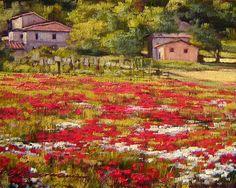 Tuscan Poppies Sketch by Caroline Zimmermann,  Oil on Board, 18cmx13cm
