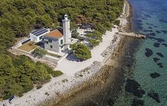 Lighthouse Lanterna reinvented as a luxurious vacation house on island Vir in the region of Dalmatia in Croatia vir vir Villa, The Donkey, Croatia Travel, Weird And Wonderful, Lighthouse, Greece, Country Roads, Europe, Italy