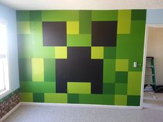 Beautiful Paint Color Bedroom Ideas Minecraft Gallery - Paint Color Bedroom Ideas Minecraft and Minecraft Bedroom, Painted Creeper Wall. Boys Minecraft Bedroom, Minecraft Room Decor, Minecraft Crafts, Minecraft Furniture, Minecraft Ideas, Minecraft Wall Designs, Kids Bedroom Sets, Boys Bedroom Decor, Bedroom Wall
