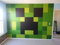 Minecraft Bedroom, Painted Creeper Wall.