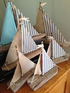 A COMPLETE New Fleet of Driftwood Sailboats Experience Arrived At The Shop They're lovingly made with Long Island Driftwood and Vintag. Driftwood Projects, Driftwood Art, Painted Driftwood, Beach Crafts, Kids Crafts, Coastal Decor, Diy Home Decor, Coastal Interior, Home Decoration