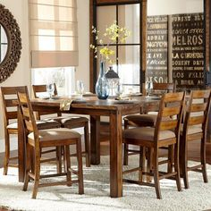 Tribecca Home Maddox Rustic Counter ight Burnisd 7-piece Extending Dining Set by