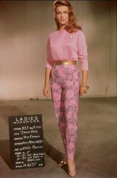 Ann Margret in a costume test for State Fair movie star costume wardrobe 50s era pink sweater matching cigarette pants gold belt shoes sandals hair outfit vintage fashion style