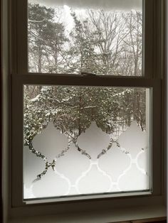 Private window cover that is frosted Moroccan style will give privacy for any eyesore mess in the pantry or unwanted attention from outside!