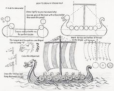 How to Draw Worksheets for Young Artist: How to Draw a Viking Ship, a lesson for the Young Artist. This could be a really cool activity to get students to think about what it was like to be a viking. This could also tie into civilization and Roman times! Basic Drawing, Drawing Lessons, Art Lessons, Viking Art, Viking Ship, Viking Woman, Tapestry Of Grace, Ship Drawing, Park Art