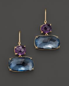 Marco Bicego Murano Yellow Gold Earrings with Amethyst and Blue Topaz Jewelry & Accessories - Fine Jewelry - Earrings - Bloomingdale's Gold Earrings, Gold Jewelry, Jewelry Accessories, Fine Jewelry, Jewelry Making, Jewellery, Diamond Jewelry, Topaz Jewelry, Baby Jewelry
