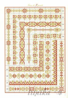 This is a whole book of borders arranged by width. And the best thing is they give you the corners. Cross Stitch Boarders, Cross Stitch Bookmarks, Cross Stitch Samplers, Cross Stitch Charts, Cross Stitching, Cross Stitch Embroidery, Cross Stitch Patterns, Loom Beading, Beading Patterns