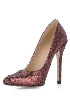 Sapatos de Salto Encantadora Toe bicudo Material do sequin Lantejoula