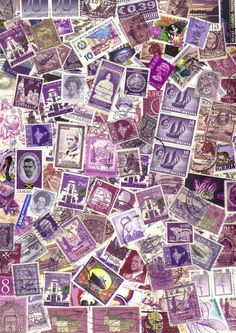 50 Purple shades  World mix postage stamps by artypharty on Etsy, $3.50
