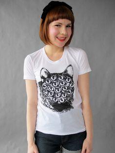 Mutant Kitty T Shirt. White from PRETTY SNAKE