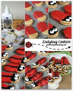 Darling Lady Bug Cookies, perfect for a garden party or spring soiree Ladybug Food, Ladybug Cookies, Ladybug Picnic, Baby Ladybug, Ladybug Party Foods, Girl First Birthday, Baby Birthday, First Birthday Parties, Birthday Ideas