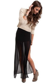 Sweater with see-through chiffon skirt.