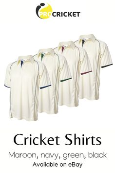 Short sleeve white cricket shirts with a choice of navy, maroon, black or green trim. Cricket Whites, Black Trim, Sportswear Brand, Half Sleeves, Navy, Green, Shirts, Clothes, Tops