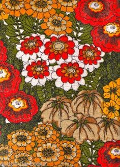 vintage 1970s floral towelling fabric